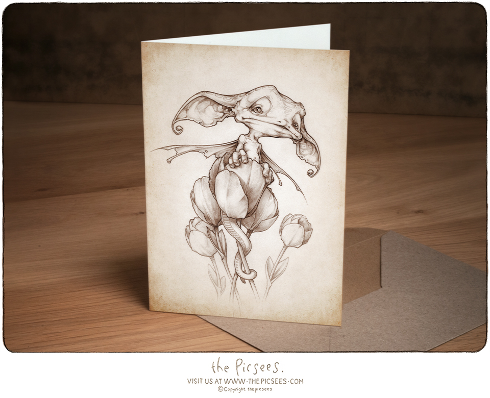 a greeting card with a wee dragon pup