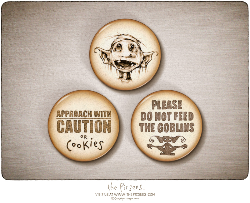A set of 3 magnets with a wee goblin and some wise warnings to accompany him